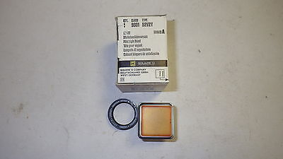 Square D 9001-D2V2Y Pilot Light Amber Square Chrome Bezel Nib