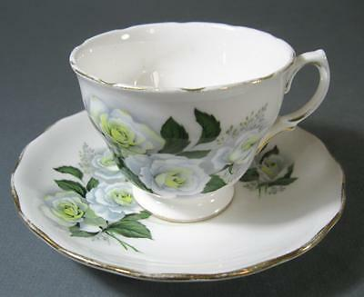 Shabby vintage duo Royal Vale English china white roses teacup/saucer chic 8137