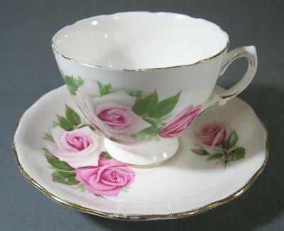 Shabby vintage duo Royal Vale English china pink roses teacup/saucer chic 8138