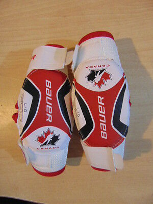 Hockey Elbow Pads Childrens Size Youth Large Ages 4-6 Bauer Black Red
