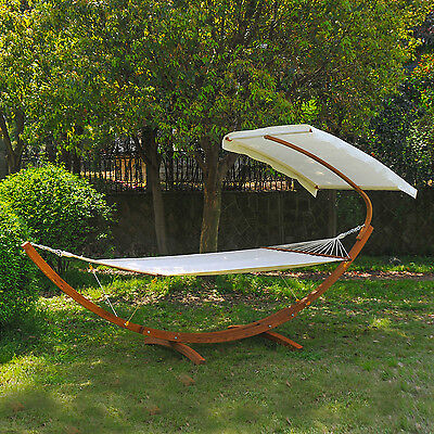 Garden Wooden Double Hammock Swing Sun Bed Frame Stand Half Roof Sunshade Canopy
