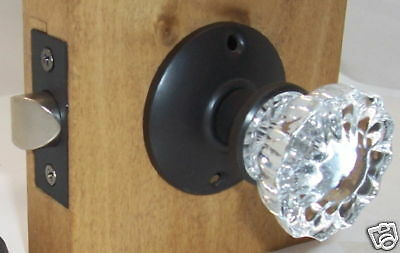LOT of Six (6)Fluted Crystal Passage Door Knob Sets to fit modern doors-ORB