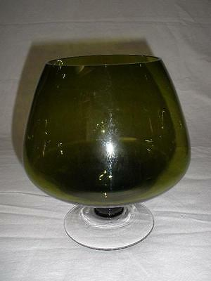 Superb Olive Green Glass Brandy Balloon Large