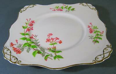 Shabby vintage Tuscan English pink bone china cake plate floral motifs-gilt chic