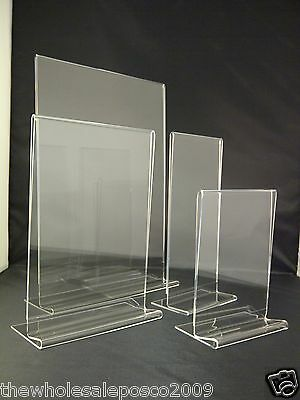 Plastic Acrylic Perspex® Menu Holder Display Leaflet Flyer Stand A3 A4 A5 A6 DL