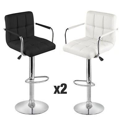 New 2pcs Kitchen Breakfast Bar Stool Pu Swivel Counter Chair Footrest Barstools
