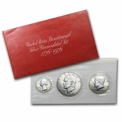 United States Bicentennial Silver Uncirculated 3 Coin 1776 - 1976 Set
