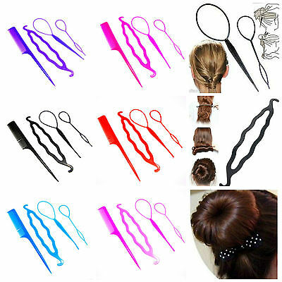 4 Pcs Set Styling Clip Bun Maker Hair Twist Braid Ponytail Tool Accessories ML