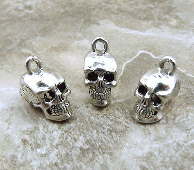 3 Pewter Skull Charms - 5195