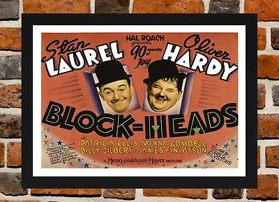 Framed Block-Heads Laurel & Hardy Movie Poster A4/A3 Size In Black/White Frame