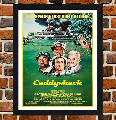 Framed Caddyshack Movie Poster A4 / A3 Size Mounted In Black / White Frame