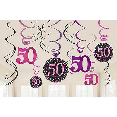 12 Sparkly Happy 50th Birthday Hanging Swirl/Cutout Pink Black Party Decorations