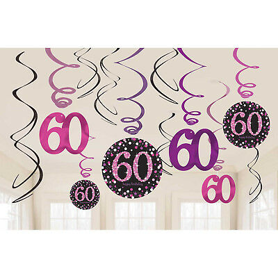 12 Sparkly Happy 60th Birthday Hanging Swirl/Cutout Pink Black Party Decorations