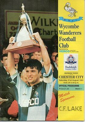 Wycombe Wanderers HOME programmes 1993/94 FIRST LEAGUE SEASON