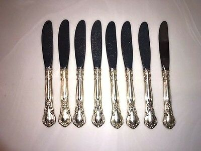 """Set of 8 Gorham Sterling Silver 6 1/4"""" Butter Knifes Chantilly Pattern No Mono"""