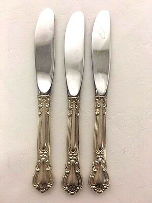 """Set of 3 Gorham Sterling Silver 6 1/4"""" Butter Knifes Chantilly Pattern No Mono"""