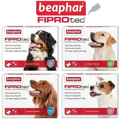 Beaphar FIPROtec Flea Spot On for Small Medium Large XL Dogs Puppies Fipronil