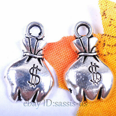 50pcs 19mm Charms $ Money bag pendant DIY Jewelry Necklace Tibet Silver A7032