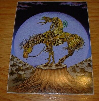 "EMEK 3X4/"" HORSE RIDER STICKER Art from silkscreen poster print"