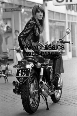 1969 Sexy Actress Singer Françoise Hardy on Honda CB750 4 Cyl Motorcycle Photo