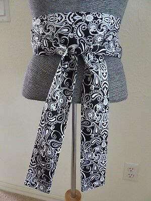 "Japanese KUMI Obi Sash Black Belt /Embroidery White Flower Pattern/2.5""W x 90""L"