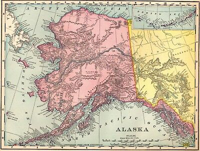 1910 Antique ALASKA MAP Vintage Map of Alaska Gallery Wall Art #2688