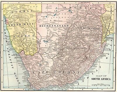 1903 Antique SOUTH AFRICA MAP Vintage Map Gallery Wall Art #2690