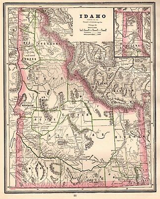 1889 Antique IDAHO Map Vintage Map of Idaho Gallery Wall Art #2693