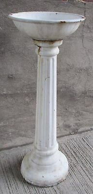 Antique Water Fountain -White Porcelain over Cast Iron Planter Pedestal Base