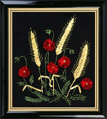 Ribbon Embroidery Kit Wheat and Red Flowers Needlework Craft Kit RE3071