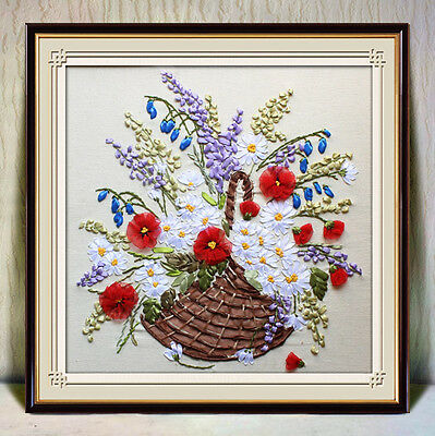 Ribbon Embroidery Kit A Basket of Beautiful Flowers Needlework Craft Kit RE3072