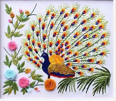 Ribbon Embroidery Kit A Peacock Flaunting Its Tail Needlework Craft Kit RE3080