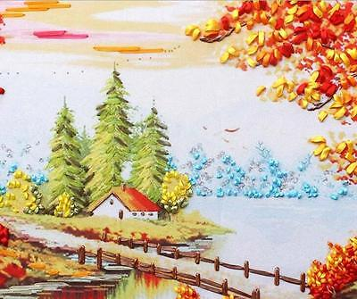 Ribbon Embroidery Kit White Birch Forest Needlework Craft Kit RE3086