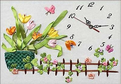 Ribbon Embroidery Kit Clock Face with Clock Movement Needlework Craft Kit RE3095