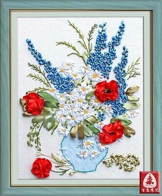 Ribbon Embroidery Kit Blooming Flowers and Vase Needlework Craft Kit RE3097
