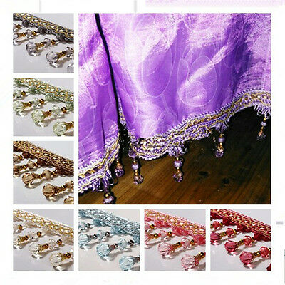 1m Decoration Curtain Accessory Fringe Beads Trim Sewings Crafting Sewing Lace