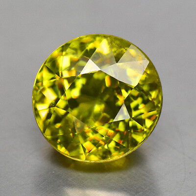 3.38Cts Gorgeous Round Cut Natural Yellowish Green Sphene Video In Description