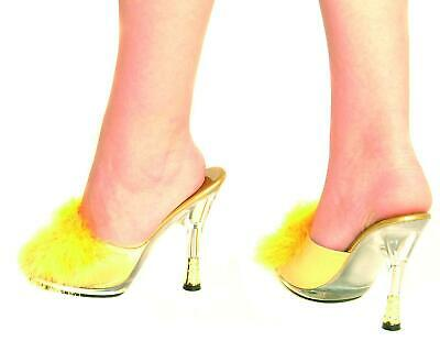 """GOLD 4.5"""" High Heel Satin Feather Faux Maribou Slippers Diamonte Heel 4 5 6 7 8"""