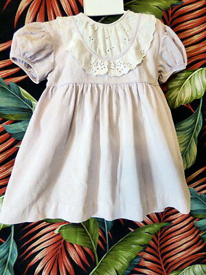 50s Little Girls Nannette lilac cotton dress w/white bib 22 breast  As is