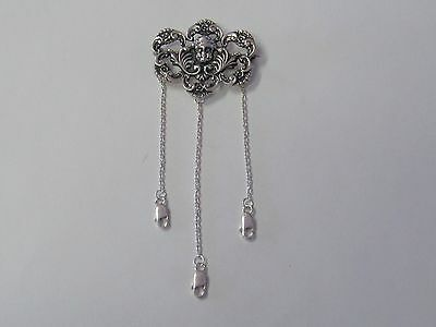 Ornate Sterling Silver Chatelaine Pin With Cherub - New (Last Ones!!)