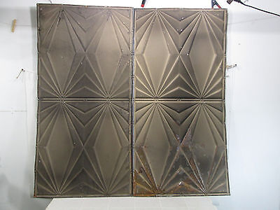 "2 Vintage Art Deco Style Tin Ceiling Panels  24"" x 48.25"""
