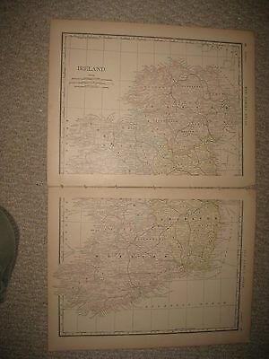 Large Fine Antique 1882 Ireland 2 Sheet Map Ulster  Munster Leinster County Nr