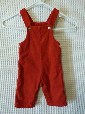 60s HealthTex red corduroy overalls 12Mos 21 waist as is