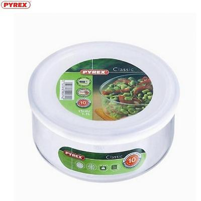 Pyrex Round Dish With Plastic Lid 1.1L Food Storage Solution Kitchen Home New