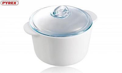 Pyrex Flame Round Casserole 20Cm 3 Litre White Food Cookware Kitchen Home New