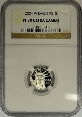 2004 W $10 Platinum Eagle, 1/10 Oz, NGC PF70 Ultra Cameo. West Point Mint Proof!