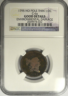 1795 Liberty Cap Half 1/2 Cent, NGC Good Details. No Pole Thin - C-6a.