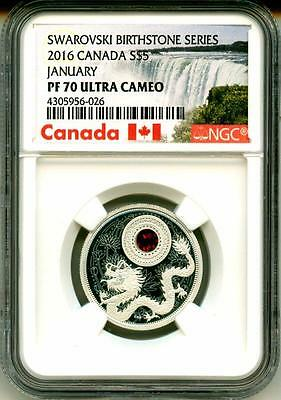 2016 S$5 Canada Birthstones Series January NGC PF70 Ultra Cameo