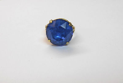 Vtg Antique 10K Gold Filled Ring W/ Round Cut Blue Stone Cz ? Size 6 Unmarked **