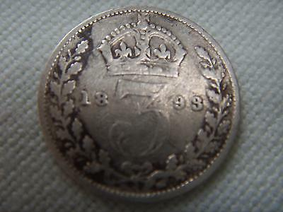 1893 1900 1909  VICTORIAN & EDWARDIAN SILVER THREEPENCE 3d